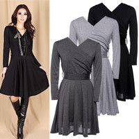 Sexy Womens V Neck Long Sleeve Slim Dress Prom Short Dress M-XL Casual  F_F = 1902638404