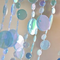Blue Glow in the Dark Beaded Curtain -- Champagne Bubbles