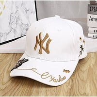MLB NY Fashion New Embroidery Letter Floral Bee Sun Protection Cap Hat White