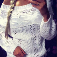 Women's Hollow Out Off Shouldere Long Lantern Sleeve Knitted Pullover Sweater Jumper
