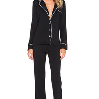 Michael Stars Long Sleeve Button Up & Pant PJ Set in Black