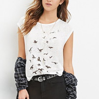 Bird Graphic Slub Knit Tee