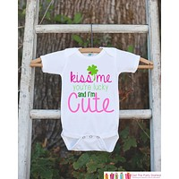 Kids St. Patricks Day Outfit - Kiss Me I'm Irish Onepiece - Novelty St. Patricks Shirt for Baby Girls - Pink & Green Clover - Infant Outfit