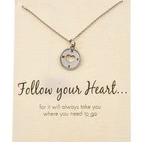 Shagwear Friendship and Love Inspirations Quote Pendant Necklace (Follow Your Heart Pendant)