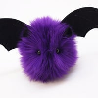 Bella the Bat Purple Halloween Fluffy Stuffed Animal Toy Plushie - 4x5 Inches Small Size
