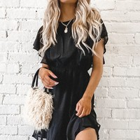 Sabrina Black Ruffle Sleeve Dress