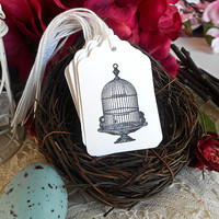 Birdcage Gift Tags Black and White Pre Strung Hang Tags For Gifts Party Favors Wedding Gift Bags