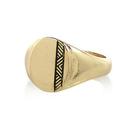 River Island MensGold tone small sovereign ring