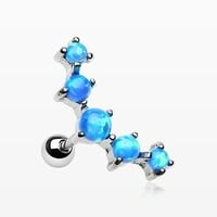 zzz-Fire Opal Sparkle Prong Journey Cartilage Tragus Barbell