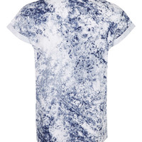 NAVY WASHED HIGH ROLL T-SHIRT - New In- TOPMAN USA
