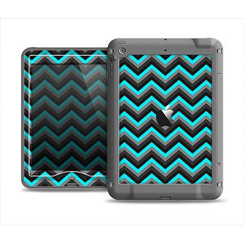 The Turquoise-Black-Gray Chevron Pattern Apple iPad Mini LifeProof Nuud Case Skin Set
