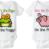 """Twin Baby Gift: Gerber Onesuit brand body suits - Pig & Frog (set of 2) """"She's the Piggy; I'm the Froggy"""" great for boy/girl fraternal twins"""