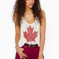 Maple Leaf Crop Tank in Clothes Tops at Nasty Gal