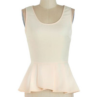 ModCloth Mid-length Sleeveless Peplum Down to a Refined Art Top in Ivory