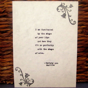 1st Anniversary Gift Romantic Art Decor Fascinated Love Poem Typed Onto Cotton Paper by Poet Romantic Gift for Him or Her Boyfriend Husband