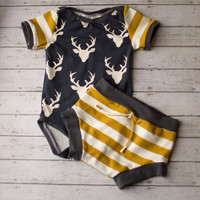 Baby Boy, Baby Boy Clothing, Boys Summer Clothing, Newborn Boy Clothes, Woodland Navy and Mustard Shorts Set, Baby Boy Clothes, Infant Boy