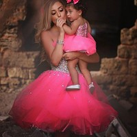 Baby Pink Rhinestones Cocktail Dresses Sexy Sweetheart Tulle Short Crystal Tulle Homecoming Dresses robe de cocktail
