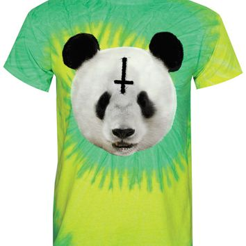 Unorthodox Panda Men's Yellow and Lime Tie-Dye T-Shirt