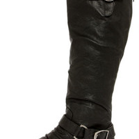 Ardie 1 Black Buckled Riding Boots