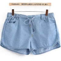 Blue Elastic Waist Pockets Denim Shorts