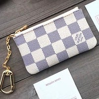 LV Louis vuitton printed letter zipper small purse key bag White Tartan