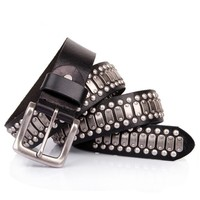 Super Cool Black Leather Belt 109549