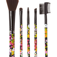 FOREVER 21 Floral Cosmetic Brush Set Black/Multi One