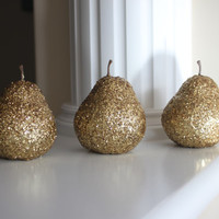 Golden Pears, Golden Fruit, Gold Pear, Pear Decor, Kitchen Decor, Gold Centerpiece, Gold Home Decor, Gold Wedding decor, Fruit Decorations