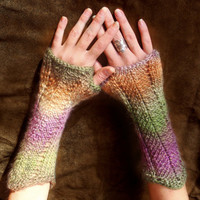 Hand knit Fingerless Gloves, Fingerless Mittens, Arm Warmer, in colors of Orange Lilac Khaki Camel, Autumn Winter accessory, gift for her
