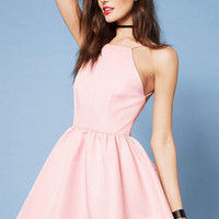 Casual Pink Spaghetti Strap Backless Halter Dress