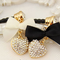 1pcs Bling Crystal Heart with Bowknot Earphone Charm Cap Anti Dust Plug for iPhone4s iPhone 4,Samsung S3 Fit for all Earphone cap 3.5mm