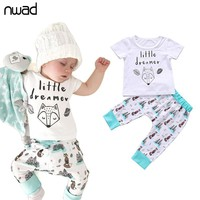 NWAD Newborn Baby Girl Clothes Set Summer Cotton Baby Outfit Fox Letter Baby Boy Clothes Bebes Set Short Sleeve Infant Clothing