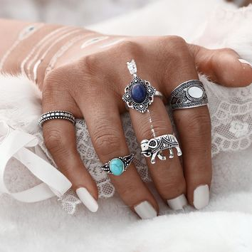 17KM 5PCS\SET Bohemian Style Vintage Anti Silver Color Ring Set Synthetic Stone Elephant Rings for Women Steampunk Turkish Ring