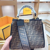 FENDI Fashion New Lady High-grade Letter Embossed Sand Leather Retro Crossbody Bag Shoulder Bag
