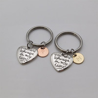 Two Tones You are always in my heart  Mother daughter Keychain personalized gifts girlfriend gift best friend gift