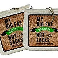 "My Big Fat Organic Nut (milk) Sacks. Set of 2 Bags (12""x12"") Commercial Quality Organic Cotton & Hemp Reusable Almond Milk Bag Strainers. Juicing Sprouting Jelly Cheesecloth Coffee Press Tea Sieve"