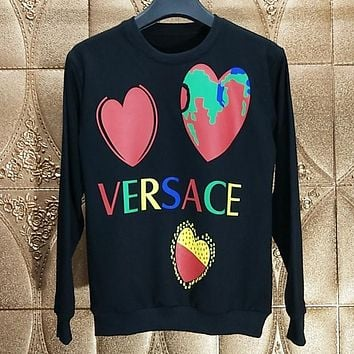 Versace Autumn And Winter New Fashion Letter Love Heart Print