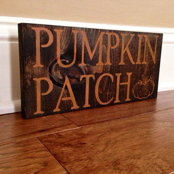 Pumpkin Patch Fall Sign, Stained and Hand Painted, Customizable, Home decor
