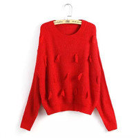 Tassel Long-Sleeve Pullover Knitted Shirt