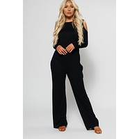 Jennifer Cold Shoulder Jumpsuit (Black)