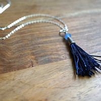 Tassel Necklace, Indigo Blue Silk Tassel Necklace, Blue Agate Stone Bead, Sterling Silver Chain Necklace, Bohemian Jewelry