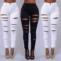 Fashion Women Casual Denim Hole Skinny Ripped Pants High Waist Stretch Jeans Long Pencil Trousers