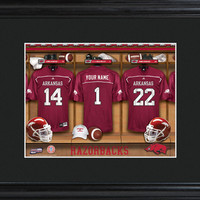 College Locker Room Print in Wood Frame - Arkansas