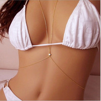 Summer style Body Jewelry Sexy Style Body Chain Belly Waist Crossover Harness Chain Necklace for women = 1956992708