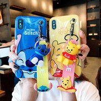 ZMASI Lovely Stitch Soft Cases for iPhone 7 8 6 6S Plus Phone Bag Case for iPhone 7 X Case Funda Winnie Lanyard Stand Cover