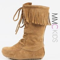 Kids Fringe Lace Up Moccasin Boots