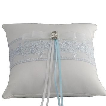 Handmade Ring Bearer Pillow for Wedding with Blue Embroidery - 6.5""