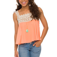 Te Amo Crochet Top - Peach