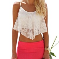 JECKSION Summer Style Crop Top Fashion Sexy Women Lace Floral Hollow Out Top For Women Girl U Vintage Croptops Sportwears #LN