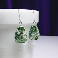 Green Moss Agate Leaf Gemstone Drop Earrings, Mothers Day Gift, Mom Sister Grandmother Bridesmaid Girlfriend Jewelry Gift